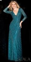 Scala Long Sleeve V-neck Beaded Dress