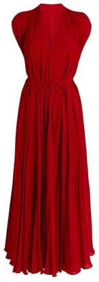Valentino Silk Pleated Midi Dress