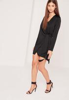 Missguided Silky Wrap Tie Waist Shirt Dress Black