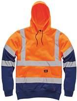 Dickies Mens Workwear Hi Visibility Sweatshirt Two Tone Hoodie