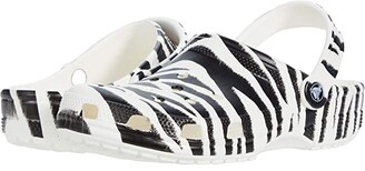 Crocs Classic Animal Print Clog (White/Zebra Print) Shoes