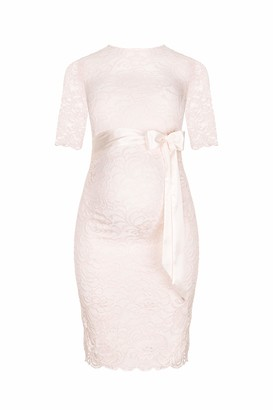 Herzmutter Maternity Lace Dress - Elegant - Pregnancy Dress - for Festive Occasions - Wedding Celebrations - with Lace - Cream-Champagne-Blue-Red-Rose - 6200 (L