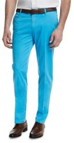 Isaia Flat-Front Cotton Trousers, Aqua