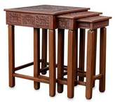 Mohena wood and leather accent tables (Set of 3), 'Inca Light'