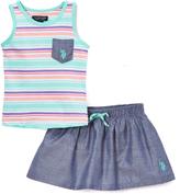U.S. Polo Assn. Mint Stripe Chambray Pocket & Skorts - Infant & Toddler