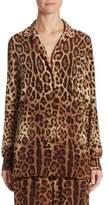 Dolce & Gabbana Leopard-Print Crepe de Chine Pajama Blouse