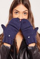 Missguided Navy Knitted Mittens