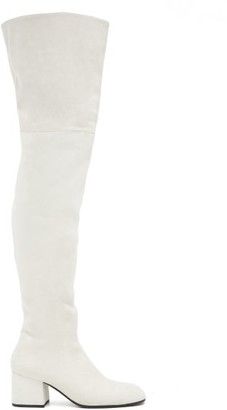 Marni Zipped Suede Over-the-knee Boots - White