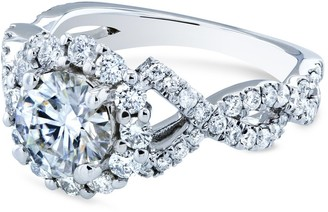 Annello by Kobelli 14k White Gold 1 4/5ct TGW Braided Cross Shank Halo Moissanite and Diamond Ring, FG/VS