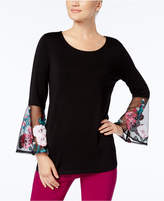 Alfani Embroidered Illusion-Cuff Top, Created for Macy's