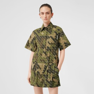 Burberry Short-sleeve Monogram Print Shirt Dress