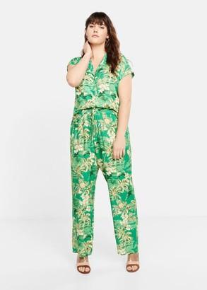 MANGO Violeta BY Tropical print blouse green - 10 - Plus sizes
