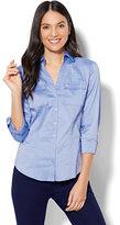 New York & Co. 7th Avenue - Madison Stretch Shirt - Striped Grosgrain-Trim - Petite