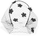 Jennifer Behr Voilette Floral-appliquéd Silk-satin Veiled Headband - Black