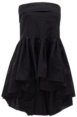 Brock Collection Peplum-hem Cotton-blend Bustier Top - Black