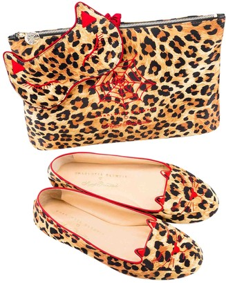 Charlotte Olympia Kitty Gold Cloth Ballet flats