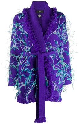 Alanui Feather-Embellished Frayed Cardigan