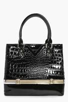 Boohoo Evelyn Mock Croc Patent Compartment Bag