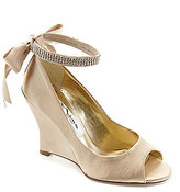 Nina Emma Jeweled Ankle-Strap Peep-Toe Wedge Pumps