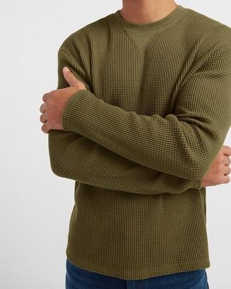 Express Solid Waffle Knit Long Sleeve T-Shirt