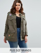 Brave Soul Plus Military Jacket With Embroidery