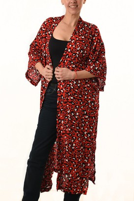 Rose Hill Boutique - Long Red Leopard Print Kimono