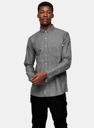 Topman Black And White Grindle Slim Oxford Shirt