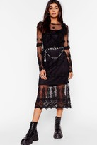 Nasty Gal Womens Lace Yourself Ruffle Midi Dress - black - S, Black