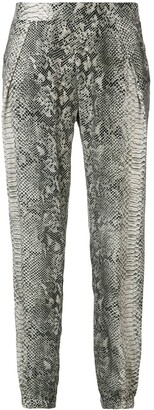Gold Hawk Snake-Print Trousers