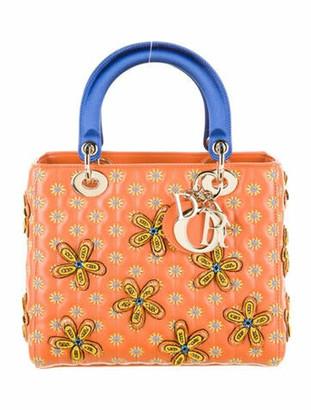 Christian Dior x Jamilla Okubo Medium Lady Bag w/ Strap Orange