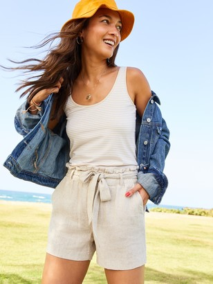 Old Navy High-Waisted Tie-Belt Linen-Blend Shorts for Women -- 4-inch inseam