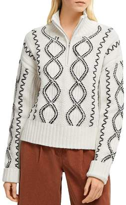 French Connection Susa Cable Knits Zip-Front Sweater