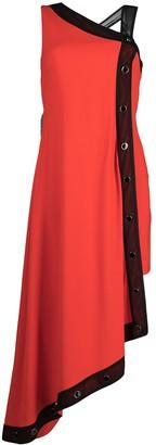Just Cavalli Asymmetric Two-Tone Midi Dress