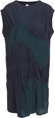 Carven Gathered Jersey-paneled Tencel-blend Crepe De Chine Mini Dress