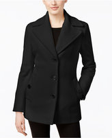 Calvin Klein Petite Wool-Cashmere Single-Breasted Peacoat, Only at Macy's