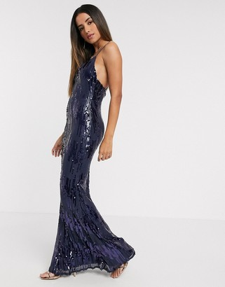 Goddiva strappy sequin maxi dress in blue