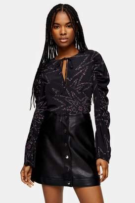 Topshop Womens Idol Black Star Print Prairie Blouse - Black