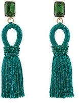 Oscar de la Renta Crystal-embellished short tassel clip-on earrings