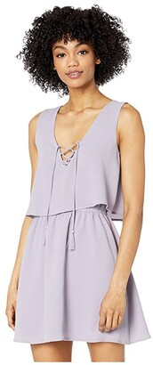 BB Dakota Layered Bubble Crepe Flounce Dress with Lace-Up (Dusty Lavender) Women's Dress
