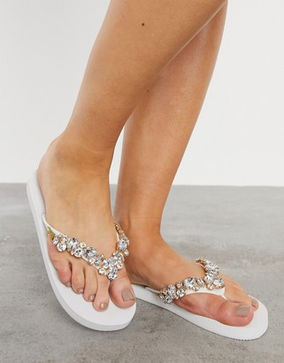 ASOS DESIGN Flicker embellished thongs in white