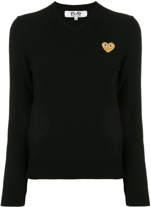 Comme des Garcons Logo-Patch V-Neck Jumper