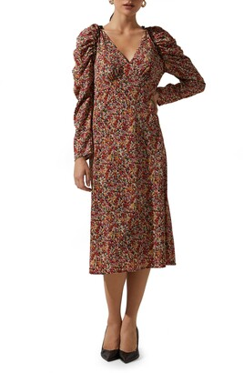 ASTR the Label Floral Ruched Long Sleeve Midi Dress