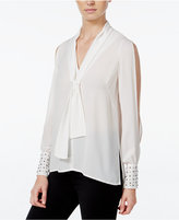 XOXO Juniors' Studded Split-Sleeve High-Low Blouse