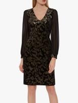 Gina Bacconi Imari Velvet Dress, Black/Gold