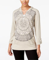Style&Co. Style & Co Petite Printed Hooded Top, Only at Macy's
