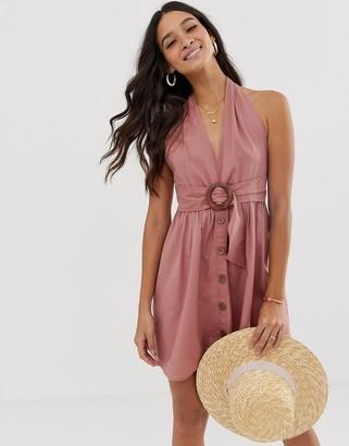 Asos Design DESIGN halter neck mini button through linen sundress with buckle-Pink