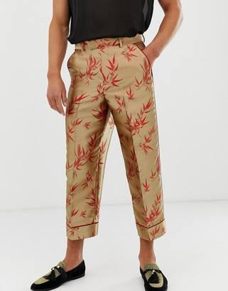 Asos Edition EDITION wide leg cropped smart trouser in floral jacquard-Multi