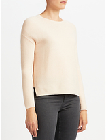 John Lewis Purl Stitch High Crew Sweater, Blush Melange