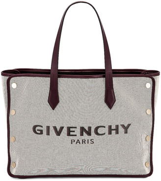 Givenchy Medium Bond Canvas & Leather Tote in Aubergine | FWRD