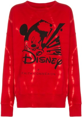 Faith Connexion Mickey Long-Sleeved Cotton Red Sweatshirt
